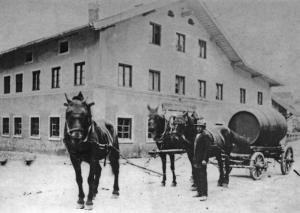 Rücktransport Fuhrfass mit Gespann 1924